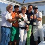 Uto Hildebrand, Frank Kampe, Dr. Marwan Nuwayhid, Alexander Tomescheit im Champagnerzelt an Bahn 11